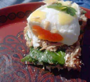Today's egg was poached a little longer than I aimed for - but it's still good!