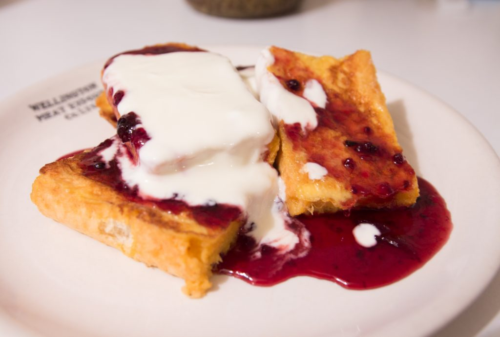 Pain perdu (French toast) with Maple Whiskey Syrup and greek yogurt